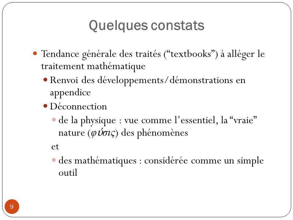 Quelques constats Tendance générale des traités ( textbooks ) à alléger le traitement mathématique.