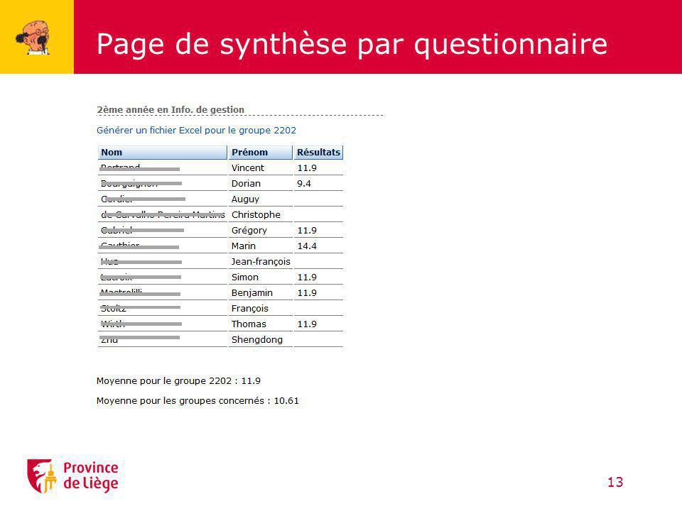 Page de synthèse par questionnaire
