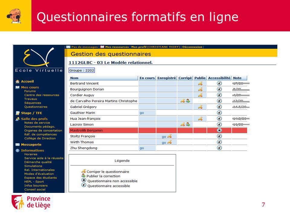 Questionnaires formatifs en ligne