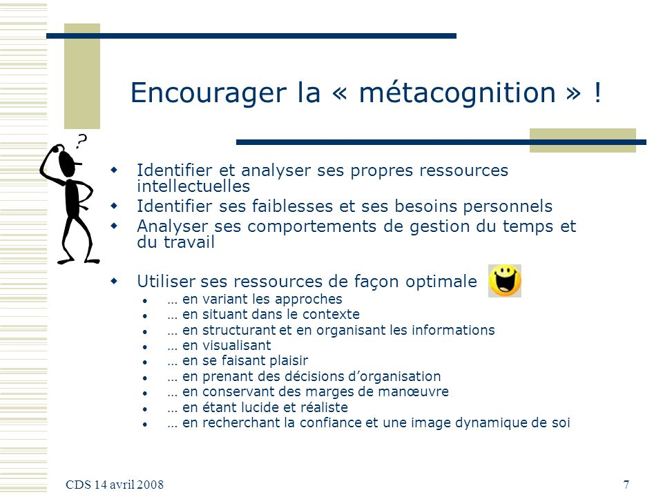 Encourager la « métacognition » !