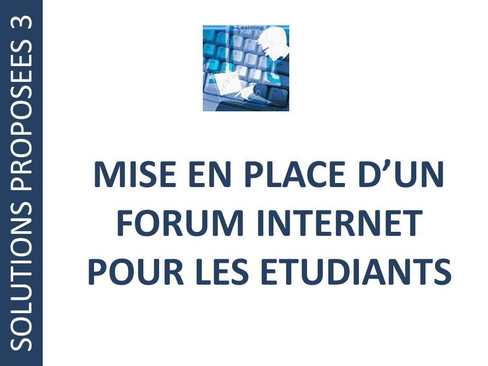 MISE EN PLACE D'UN FORUM INTERNET POUR LES ETUDIANTS