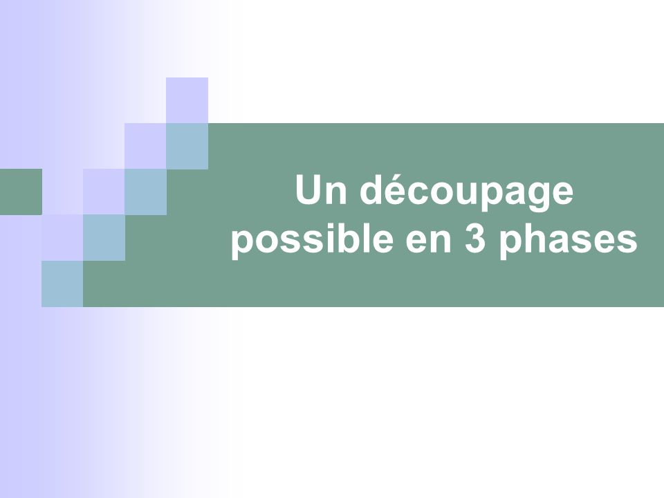 Un découpage possible en 3 phases