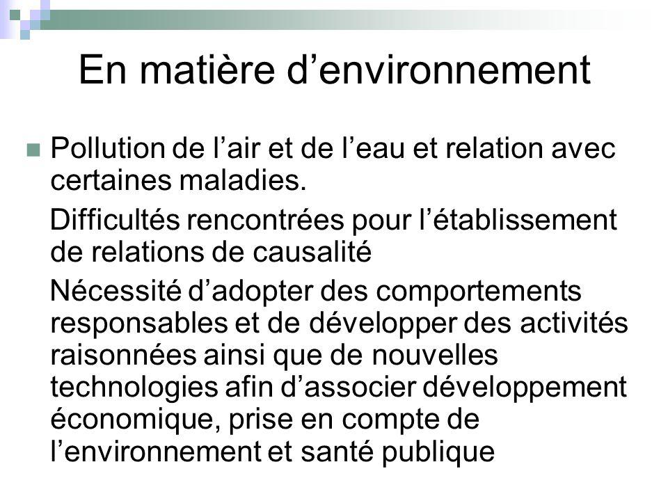 En matière d'environnement