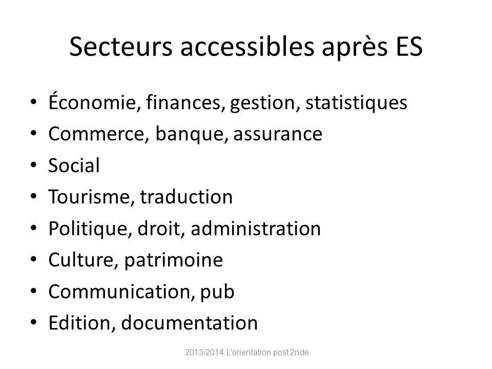 Secteurs accessibles après ES