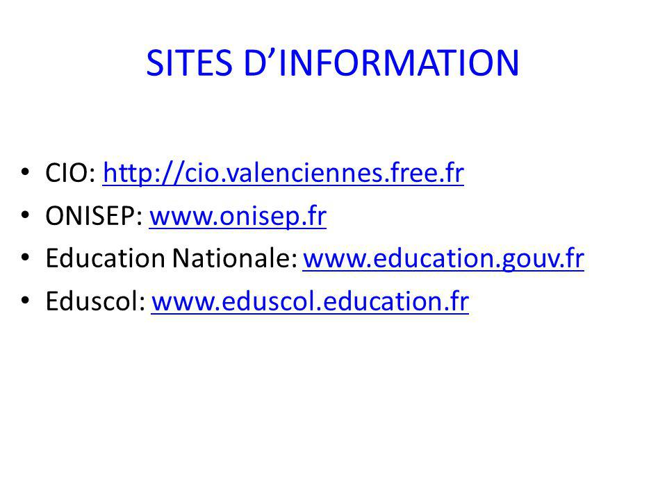 SITES D'INFORMATION CIO: http://cio.valenciennes.free.fr