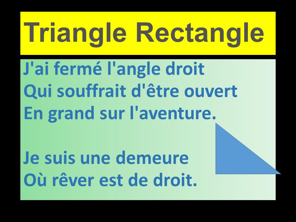 Triangle Rectangle J ai fermé l angle droit