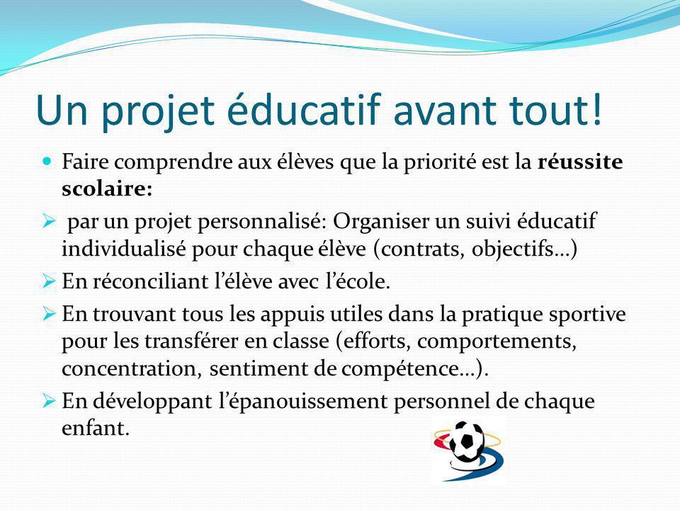 Un projet éducatif avant tout!