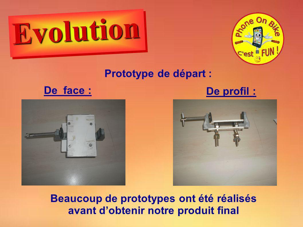 Evolution Prototype de départ : De face : De profil :