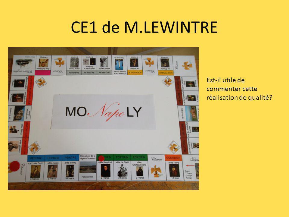 CE1 de M.LEWINTRE Est-il utile de commenter cette réalisation de qualité