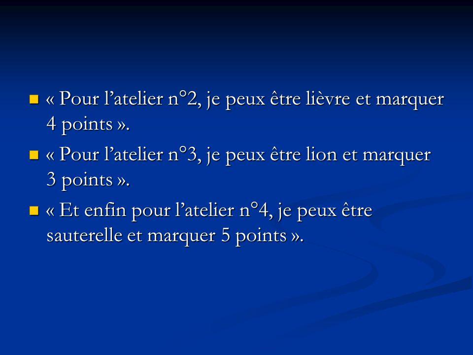 « Pour l'atelier n°2, je peux être lièvre et marquer 4 points ».
