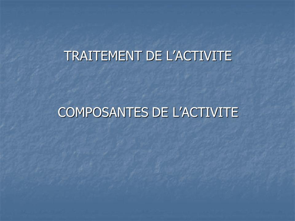 TRAITEMENT DE L'ACTIVITE