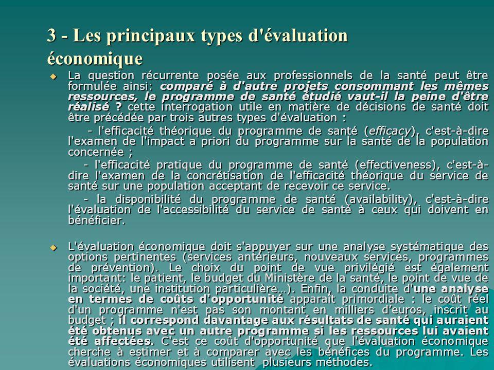 3 - Les principaux types d évaluation économique