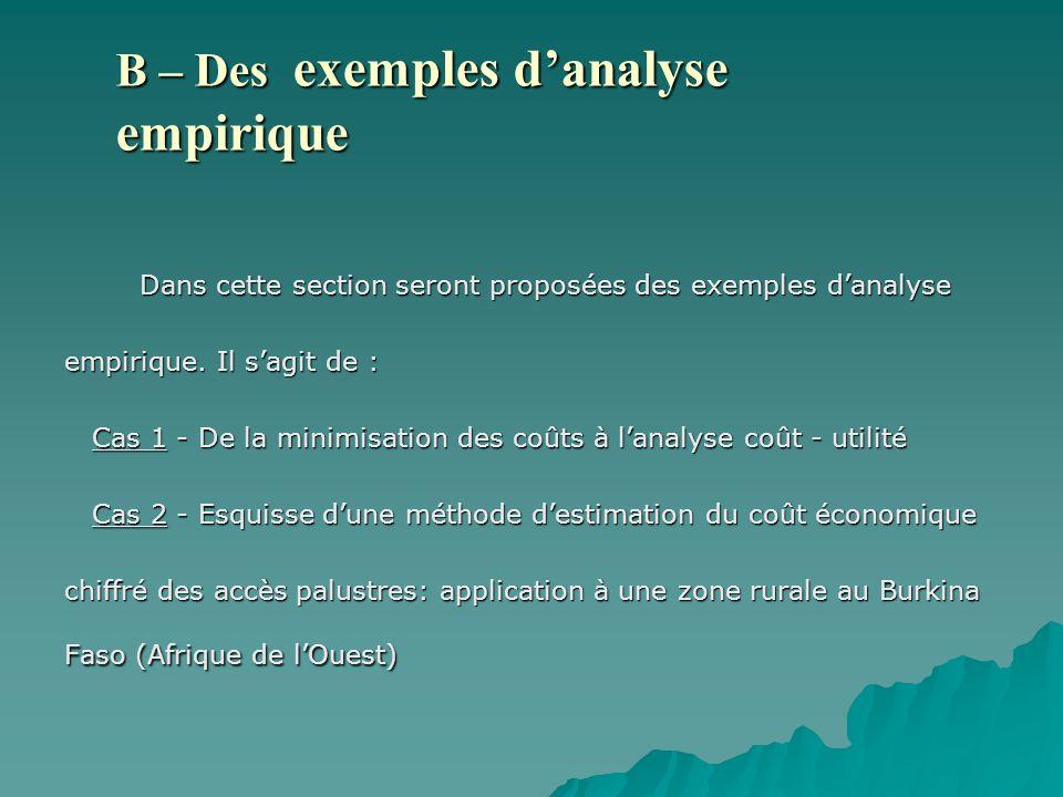 B – Des exemples d'analyse empirique