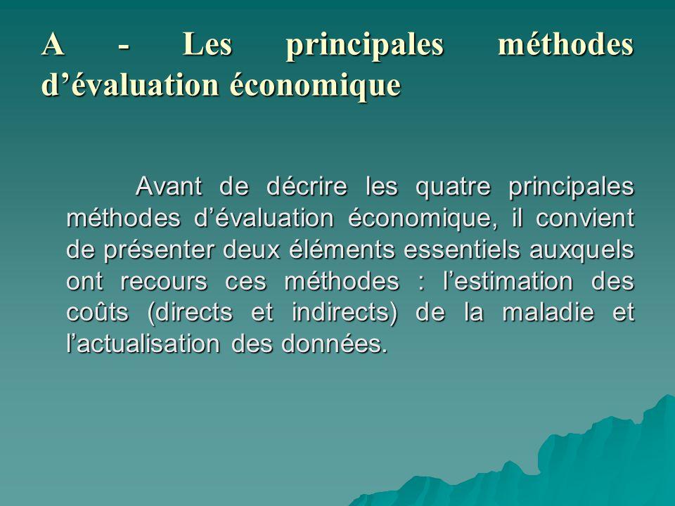 A - Les principales méthodes d'évaluation économique
