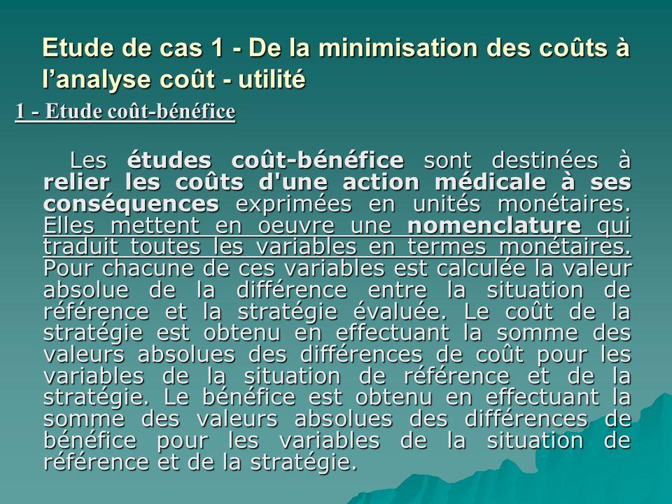 Etude de cas 1 - De la minimisation des coûts à l'analyse coût - utilité
