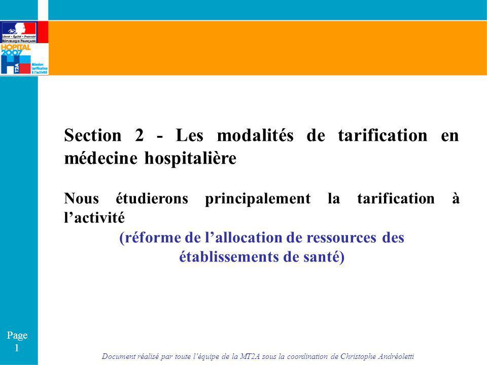 (réforme de l'allocation de ressources des établissements de santé)