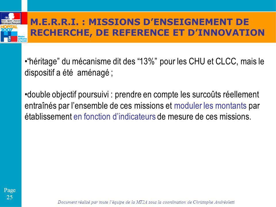 M.E.R.R.I. : MISSIONS D'ENSEIGNEMENT DE RECHERCHE, DE REFERENCE ET D'INNOVATION