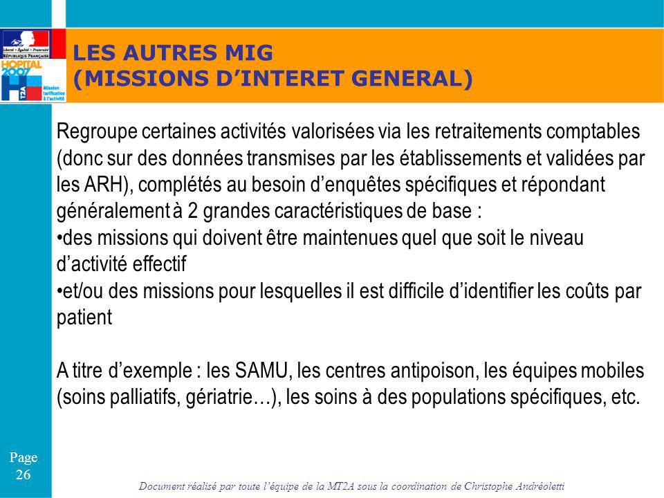 LES AUTRES MIG (MISSIONS D'INTERET GENERAL)