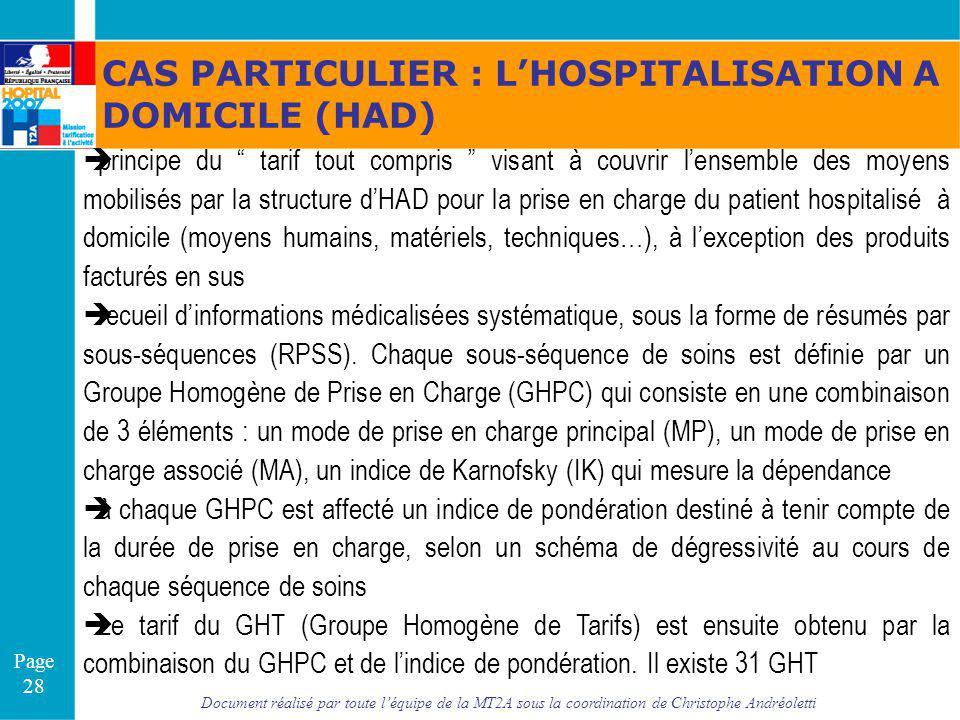 CAS PARTICULIER : L'HOSPITALISATION A DOMICILE (HAD)