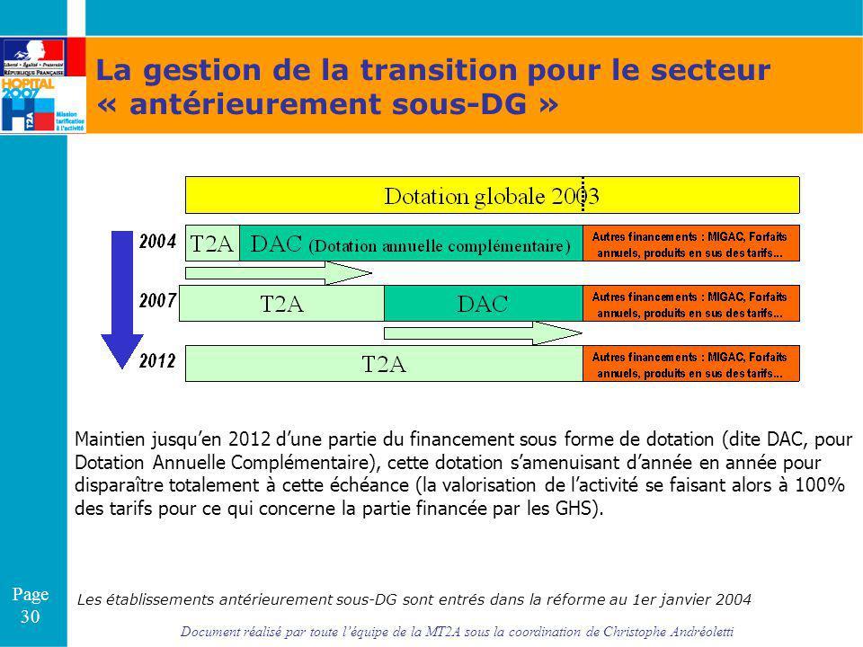La gestion de la transition pour le secteur « antérieurement sous-DG »