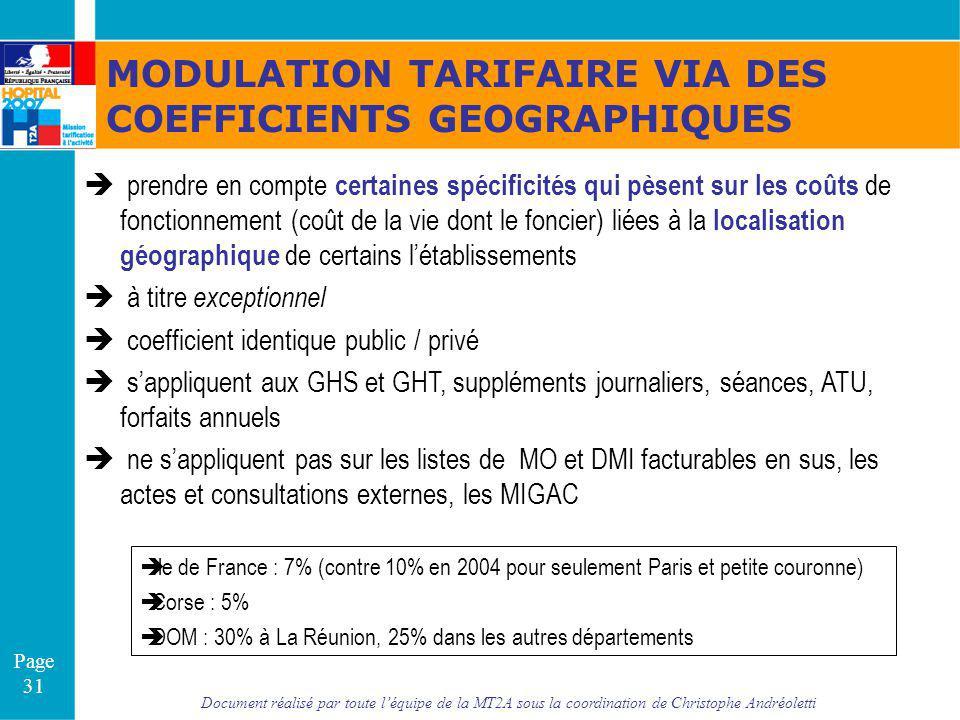 MODULATION TARIFAIRE VIA DES COEFFICIENTS GEOGRAPHIQUES