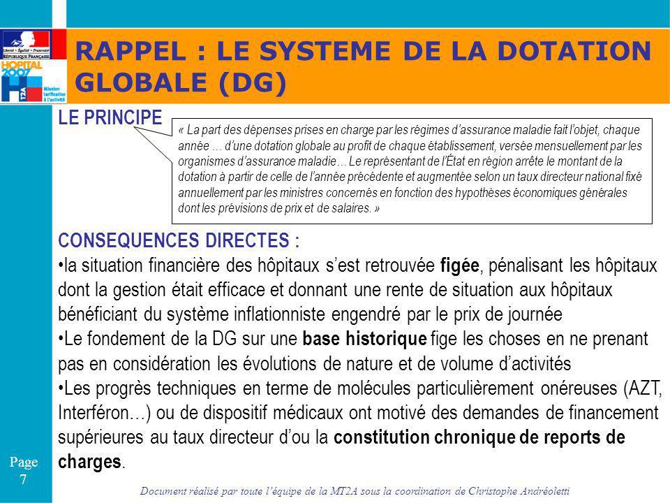 RAPPEL : LE SYSTEME DE LA DOTATION GLOBALE (DG)