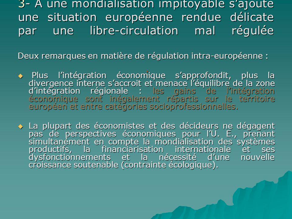 3- A une mondialisation impitoyable s'ajoute une situation européenne rendue délicate par une libre-circulation mal régulée :