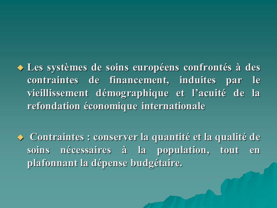 Les systèmes de soins européens confrontés à des contraintes de financement, induites par le vieillissement démographique et l'acuité de la refondation économique internationale