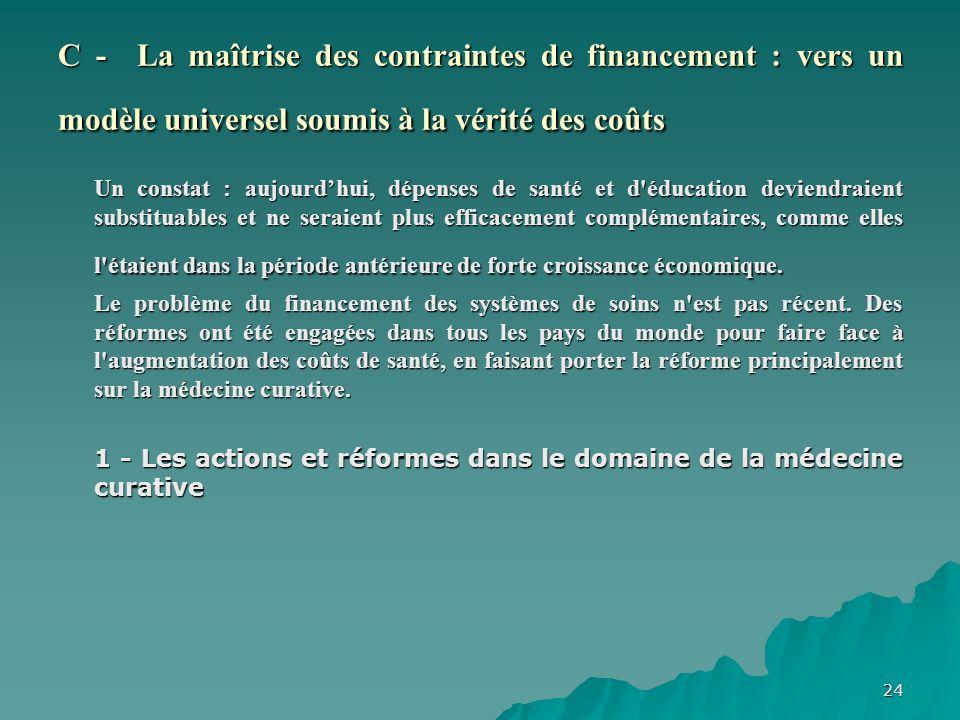 C - La maîtrise des contraintes de financement : vers un modèle universel soumis à la vérité des coûts