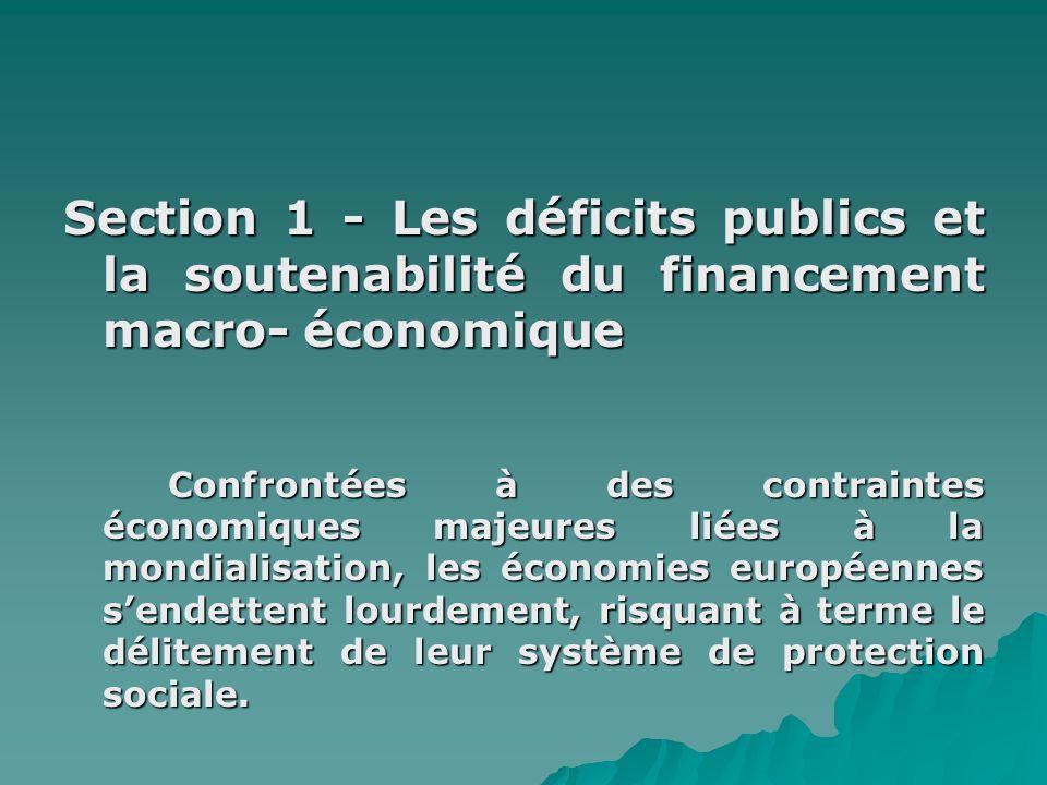 Section 1 - Les déficits publics et la soutenabilité du financement macro- économique
