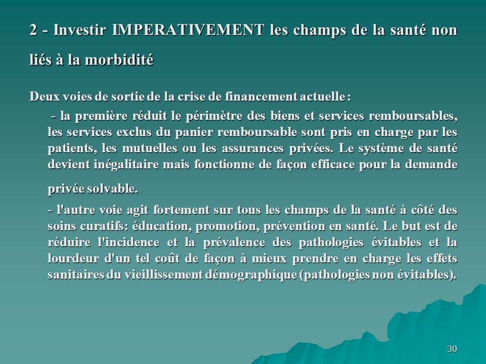 2 - Investir IMPERATIVEMENT les champs de la santé non liés à la morbidité
