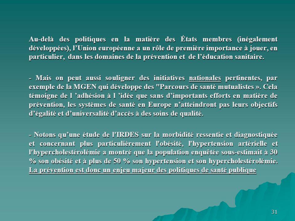 Au-delà des politiques en la matière des États membres (inégalement développées), l'Union européenne a un rôle de première importance à jouer, en particulier, dans les domaines de la prévention et de l'éducation sanitaire.