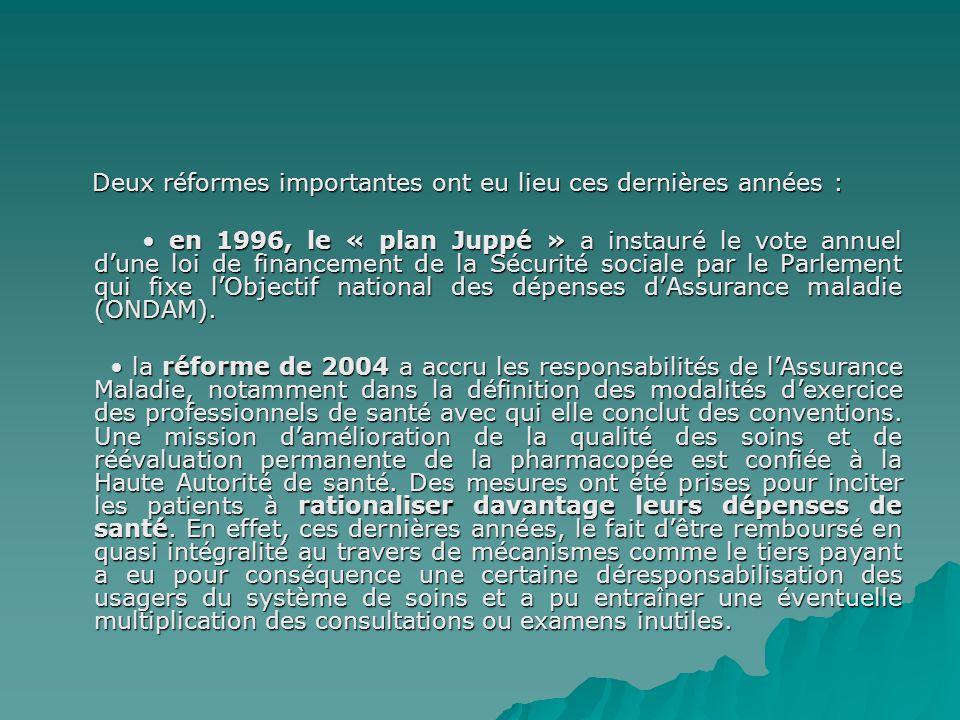 Deux réformes importantes ont eu lieu ces dernières années :