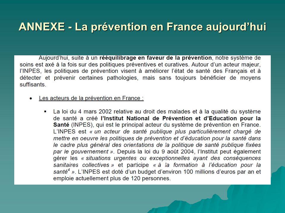 ANNEXE - La prévention en France aujourd'hui