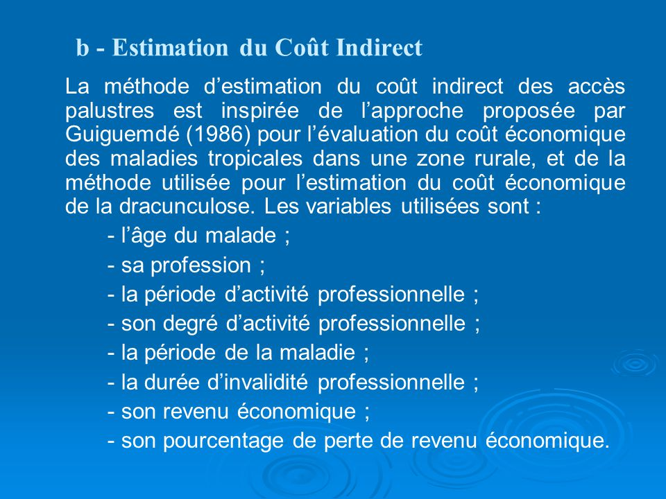b - Estimation du Coût Indirect