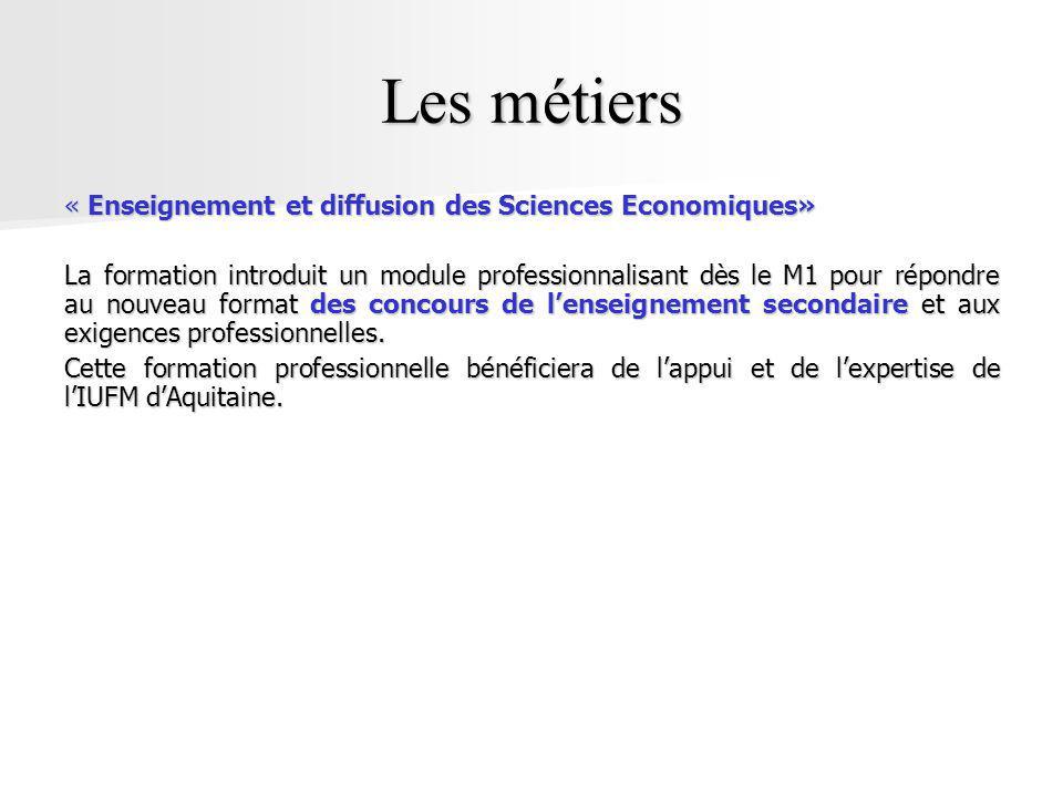 Les métiers « Enseignement et diffusion des Sciences Economiques»