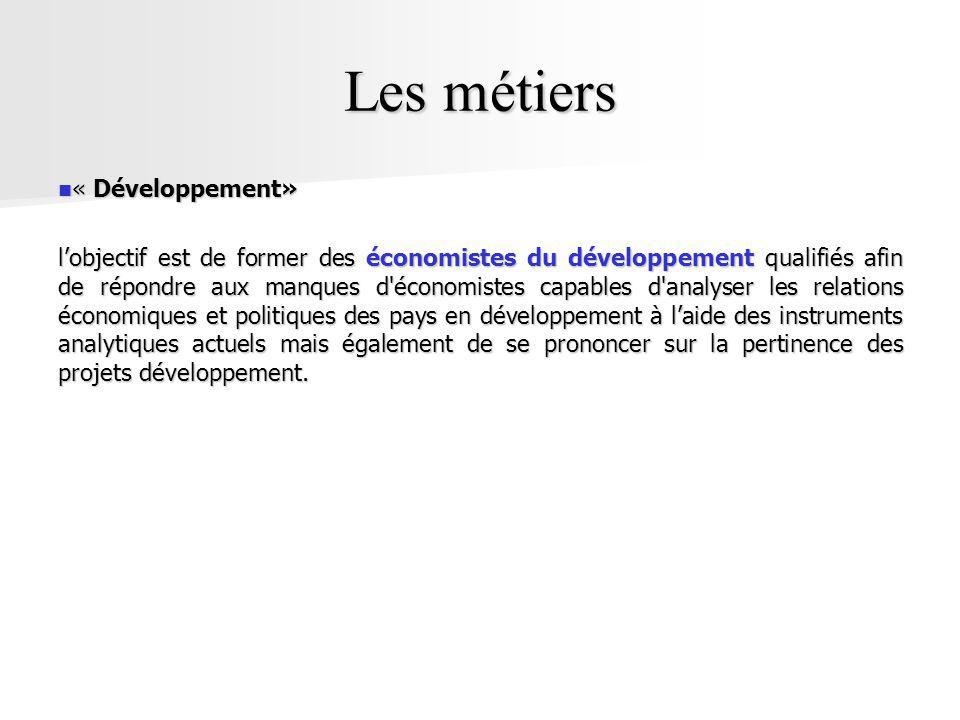 Les métiers « Développement»