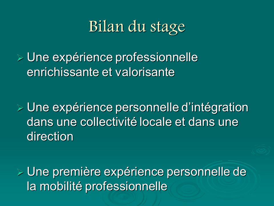 Bilan du stage Une expérience professionnelle enrichissante et valorisante.