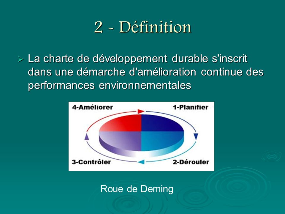 2 - Définition La charte de développement durable s inscrit dans une démarche d amélioration continue des performances environnementales.