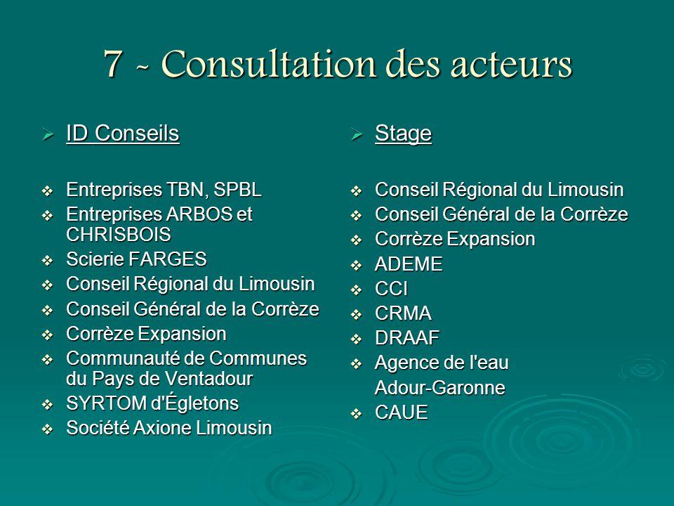 7 - Consultation des acteurs