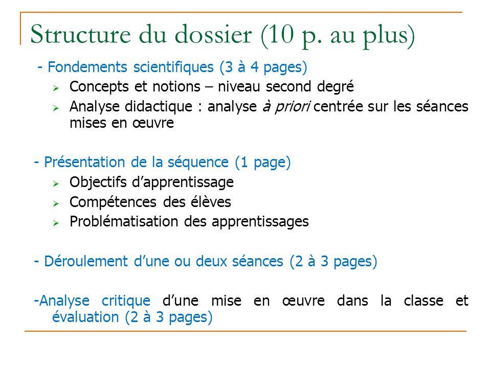 Structure du dossier (10 p. au plus)