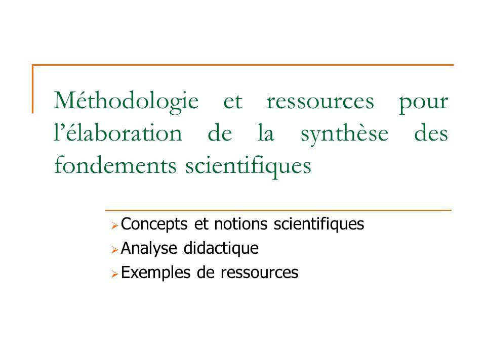 Méthodologie et ressources pour l'élaboration de la synthèse des fondements scientifiques