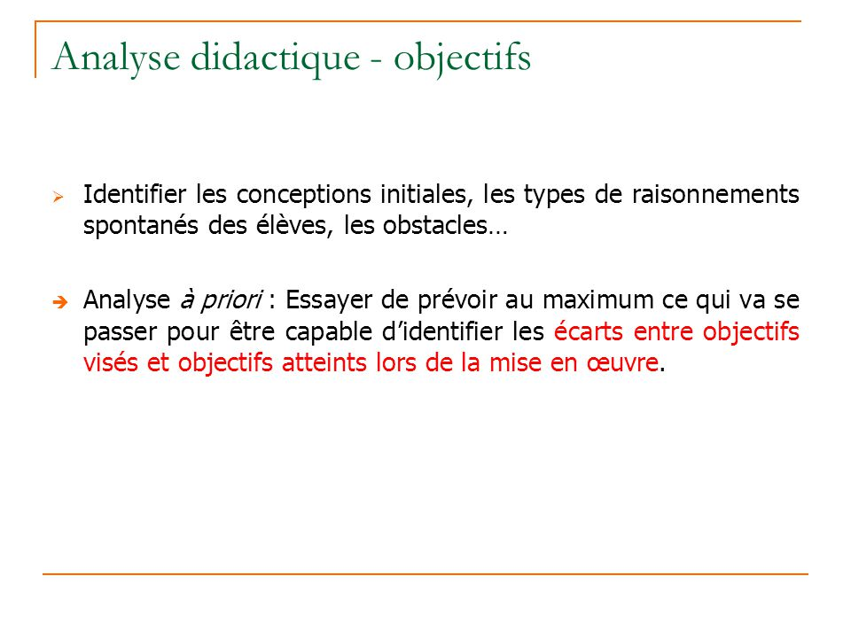 Analyse didactique - objectifs