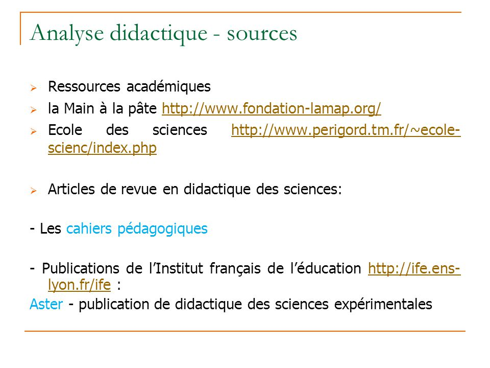Analyse didactique - sources
