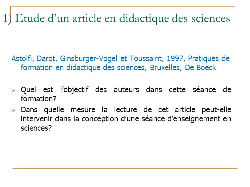 1) Etude d'un article en didactique des sciences