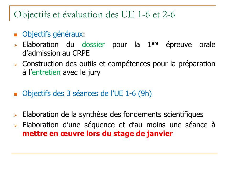 Objectifs et évaluation des UE 1-6 et 2-6