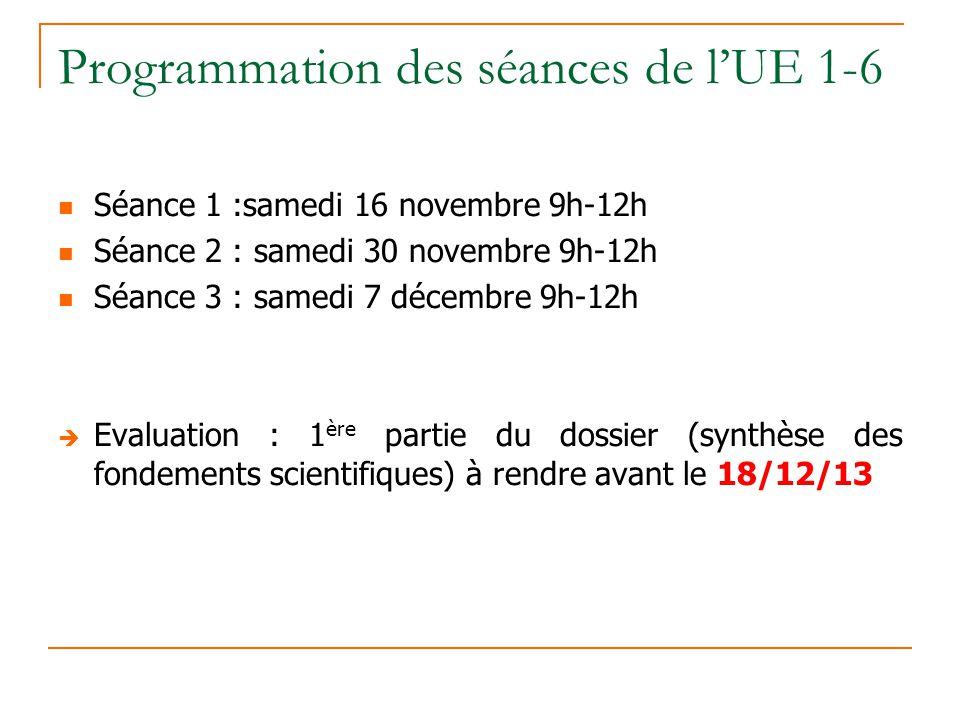 Programmation des séances de l'UE 1-6
