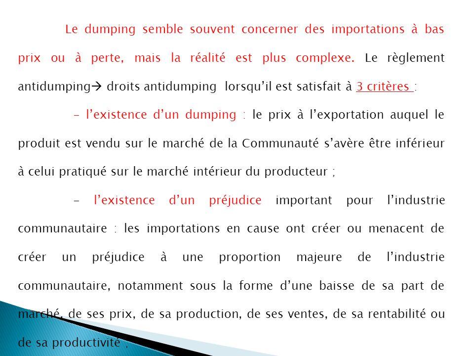 Le dumping semble souvent concerner des importations à bas prix ou à perte, mais la réalité est plus complexe. Le règlement antidumping droits antidumping lorsqu'il est satisfait à 3 critères :
