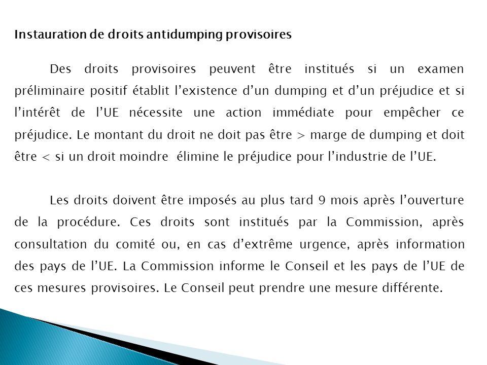Instauration de droits antidumping provisoires