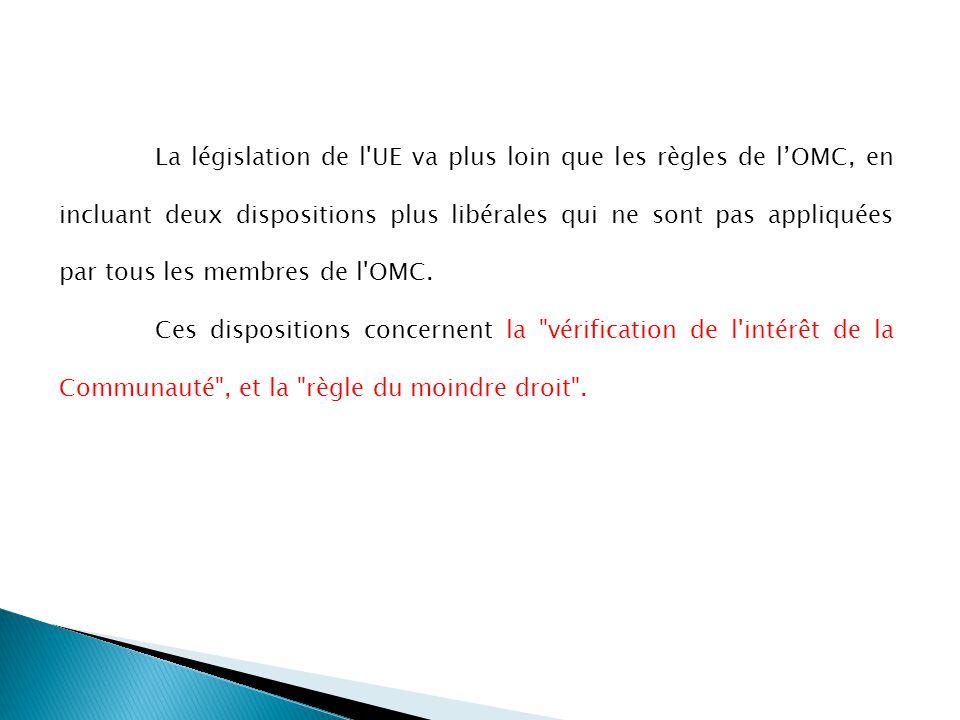 La législation de l UE va plus loin que les règles de l'OMC, en incluant deux dispositions plus libérales qui ne sont pas appliquées par tous les membres de l OMC.
